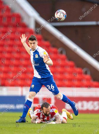 Steven Fletcher of Stoke City is tackled by Darragh Lenihan of Blackburn Rovers; Bet365 Stadium, Stoke, Staffordshire, England; English Football League Championship Football, Stoke City versus Blackburn Rovers.