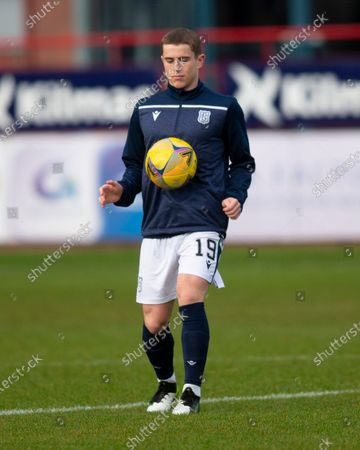Stock Image of Finlay Robertson of Dundee during the warm up before the match; Dens Park, Dundee, Scotland; Scottish Championship Football, Dundee FC versus Dunfermline.