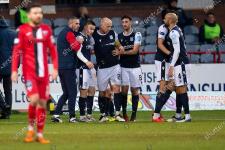 Charlie Adam of Dundee is congratulated after scoring for 1-0 by in the 36th minute; Dens Park, Dundee, Scotland; Scottish Championship Football, Dundee FC versus Dunfermline.