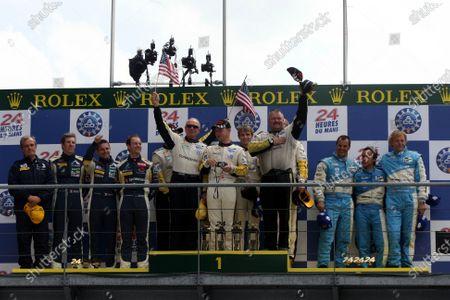 Le Mans 24 Hours LMP GT1 podium and results: 1st Jan Magnussen (DEN) / Johnny O'Connell (USA) / Anontio Garcia (ESP), Corvette Racing, centre. 2nd Yann Clairey (FRA) / Xavier Maasen (NED) / Julien Jousse (FRA), Luc Alphand Adventures, left. 3rd Lukas Lichtner-Hoyer (AUT) / Alexander Muller (GER) / Thomas Gruber (AUT) JetAlliance Racing, right. Le Mans 24 Hours, La Sarthe, Le Mans, France, 13-14 June 2009.