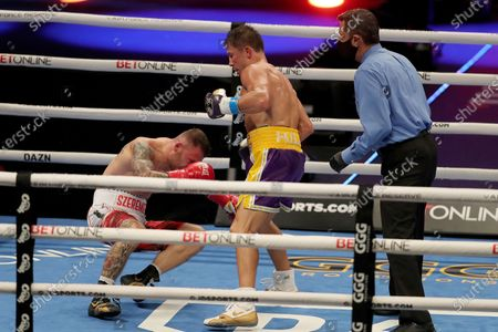 Gennady Golovkin of Khazakhstan knocks down Kamil Szeremeta of Poland during the IBF middleweight world title fight at the Seminole Hard Rock Hotel and Casino in Hollywood, Florida USA on 18, Dec 2020.