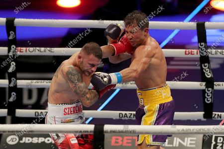 Stock Picture of Gennady Golovkin of Khazakhstan ()R) fights Kamil Szeremeta of Poland during the IBF middleweight world title fight at the Seminole Hard Rock Hotel and Casino in Hollywood, Florida USA on 18, Dec 2020.