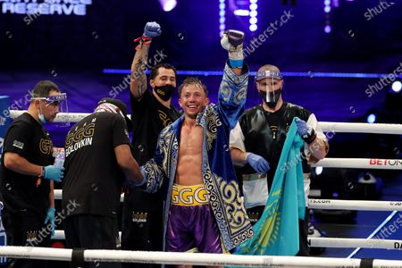 Stock Image of Gennady Golovkin of Khazakhstan celebrates after defeating Kamil Szeremeta of Poland during the IBF middleweight world title fight at the Seminole Hard Rock Hotel and Casino in Hollywood, Florida USA on 18, Dec 2020.