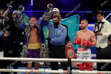 Gennady Golovkin of Khazakhstan celebrates after defeating Kamil Szeremeta of Poland during the IBF middleweight world title fight at the Seminole Hard Rock Hotel and Casino in Hollywood, Florida USA on 18, Dec 2020.