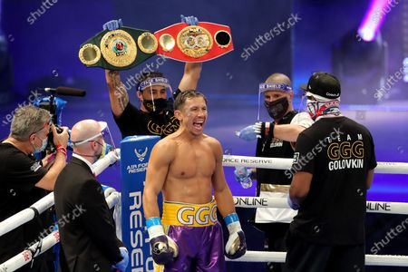 Gennady Golovkin of Khazakhstan is seen after introductions to fight Kamil Szeremeta of Poland during the IBF middleweight world title fight at the Seminole Hard Rock Hotel and Casino in Hollywood, Florida USA on 18, Dec 2020.