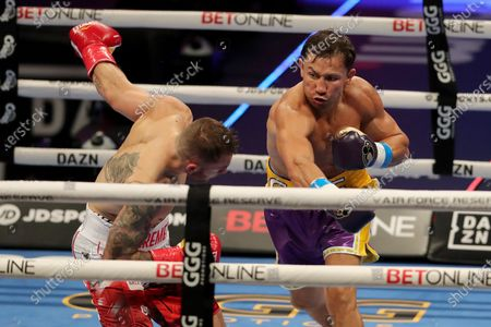 Gennady Golovkin of Khazakhstan punches Kamil Szeremeta of Poland during the IBF middleweight world title fight at the Seminole Hard Rock Hotel and Casino in Hollywood, Florida USA on 18, Dec 2020.