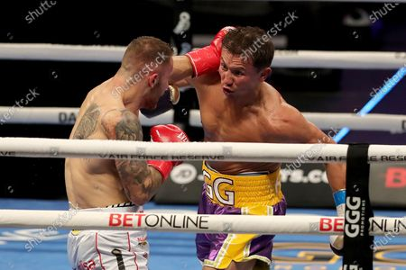 Gennady Golovkin of Khazakhstan (R) punches Kamil Szeremeta of Poland during the IBF middleweight world title fight at the Seminole Hard Rock Hotel and Casino in Hollywood, Florida USA on 18, Dec 2020.