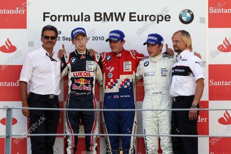 The podium (L to R): Dr Mario Theissen (GER) BMW; Daniil Kvyat (RUS) Eurointernational, second; Jack Harvey (GBR) Fortec Motorsports, race winner; Robin Frijns (NED) Josef Kaufmann Racing, third and champion. Formula BMW Europe, Rds 12 & 13, Monza, Italy, 10-12 September 2010.