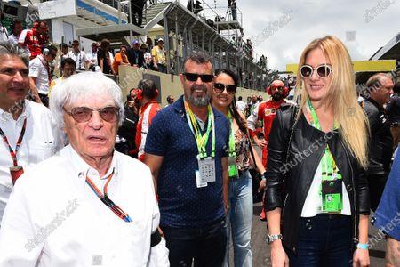 Bernie Ecclestone (GBR) CEO Formula One Group (FOM) and Fiorella Mattheis (BRA) Actress on the grid at Formula One World Championship, Rd18, Brazilian Grand Prix, Race, Interlagos, Sao Paulo, Brazil, Sunday 15 November 2015.