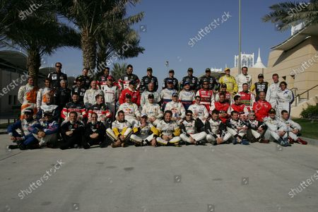 The 2005 FIA-GT lineup: Front row: Luigi Moccia (ITA), Paolo Rapetti (ITA), Justin Keen (GBR), Liz Halliday (USA), Anthony Kumpen (BEL), Bert Longin (BEL), Mike Hezemans (NED), Mike Rockenfeller (GER), Marc Lieb (GER), Tim Sugden (GBR), Emmanuel Collard (FRA), Wolfgang Kaufmann (GER), Luca Moro (ITA). Second row: Raymond Narac (FRA), Roland Berville (FRA), Steve Zacchia (SUI), Philipp Peter (AUT), Andrea Bertolini (ITA), Karl Wendlinger (AUT), Jamie Davies (GBR), Jean-Denis Deletraz (SUI), Andrea Piccini (ITA), Mauro Casadei (ITA). Third row: Donny Crevels (NED), Jeroen Bleekemolen (NED), Franz Konrad (AUT), Paolo Ruberti (ITA), Miro Konopka (SVK), Stefan Rosina (SVK), Dick Waaijenberg (NED), Peter Kutemann (NED), Nicolay Fomenko (RUS), Alexey Vasiliev (RUS), Batti Pregliasco (ITA), Andrea Montermini (ITA), Luca Drudi (ITA). Back row: Luca Pirri Ardizzone (ITA), Robert Lechner (AUT), Pedro Lamy (POR), Gabriele Gardel (SUI), Timo Scheider (GER), Thomas Biagi (ITA), Fabio Babini (ITA), Michael Bartels (GER), Adam Lacko (CZE), Jan Vonka (CZE), Bas Leinders (BEL), Renaud Kuppens (BEL), Vanina Ickx (BEL). FIA GT Championship, Rd11, Bahrain International Circuit, Sakir, Bahrain. 25 November 2005. DIGITAL IMAGE