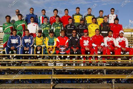 A1 drivers pose for the photograph. Back row (L-R): Vasilis Papafilippo (GRE) A1 Team Greece, Takis Kaitazis (GRE) A1 Team Greece, ??,?? Tengyi Jiang (CHN) A1 Team China, Cheng Cong Fu (CHN) A1 Team China, Ian Dyk (AUS) A1 Team Australia, Karl Reindler (AUS) A1 Team Australia, Ryan Briscoe (AUS) A1 Team Australia, Thomas Kostka (CZE) A1 Team Czech Republic. Middle row (L-R): Adrian Zaugg (RSA) A1 Team South Africa, Stephen Simpson (RSA) A1 Team South Africa, Sebastien Buemi (SUI) A1 Team Switzerland, John O'Hara (IRE) A1 Team Ireland, Michael Devaney (IRE) A1 Team Ireland, Jonny Reid (NZL) A1 Team New Zealand, Matt Halliday (NZL) A1 Team New Zealand, Alex Yoong (MAL) A1 Team Malaysia, Nico Hulkenberg (GER) A1 Team Germany, Alex Khateeb (LIB) A1 Team Lebanon. Front row (L-R): Loic Duval (FRA) A1 Team France, Nicolas Lapierre (FRA) A1 Team France, Ruben Carrapatoso (BRA) A1 Team Brazil, Tuka Rocha (BRA) A1 Team Brazil, Jeroen Bleekemolen (NED) A1 Team Netherlands, Darren Manning (GBR) A1 Team Great Britain, James Hinchcliffe (CDN) A1 Team Canada, Basil Shabaan (LIB) A1 Team Lebanon, Moreno Soeprapto (IND) A1 Team Indonesia, Ananda Mikola (INA) A1 Team Indonesia. A1GP, Rd1, Qualifying Day, Zandvoort, Holland, 30 September 2006. DIGITAL IMAGE