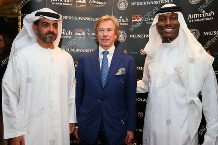 HRH Hamad bin Zayed Al Nahyan with Neuschwansteiner Ambassador H.R.H. Prince Leopold of Bavaria and Tyrese Gibson (USA) at a Celebration of Six Years of the Abu Dhabi GP presented by Neuchwansteiner in aid of World Childhood Foundation at the Jumeirah Etihad Towers Hotel at Formula One World Championship, Rd19, Abu Dhabi Grand Prix, Preparations, Yas Marina Circuit, Abu Dhabi, UAE, Wednesday 25 November 2015.