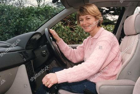 Sue Cook. Television Presenter Driving Car.