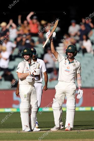 Steven Smith of Australia and Joe Burns of Australia celebrate a win for Australia