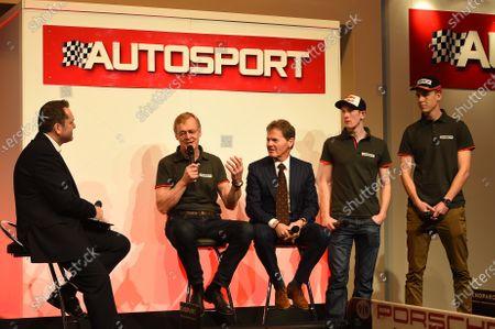 Ari Vatanen (FIN), Malcolm Wilson (GBR), Elfyn Evans (GBR) and Max Vatanen (FIN) DMACK Rally Team Launch at Autosport International Show, NEC, Birmingham, England, 14-17 January 2016.