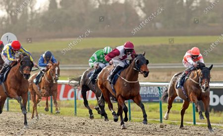 A GO GO (centre, Darragh Keenan) beats EQUALLY FAST (right) in The Read Katie Walsh On Betway Insider Handicap Lingfield