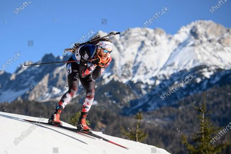 Stock Picture of Simon Eder of Austria in action during the Men's 12,5km Pursuit race at the IBU Biathlon World Cup in Hochfilzen, Austria, 19 December 2020.