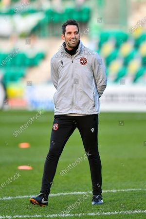 Dundee Utd goalkeeping coach, Neil Alexander during the warm up before SPFL Premiership match between Hibernian FC and Dundee United FC at Easter Road Stadium, Edinburgh