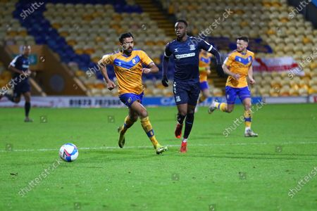Southend United Richard Taylor (22) and Malvind Benning (3) of Mansfield Town during the EFL Sky Bet League 2 match between Mansfield Town and Southend United at the One Call Stadium, Mansfield
