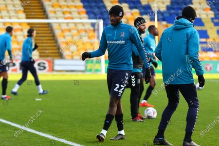 Southend United Richard Taylor (22) warming up during the EFL Sky Bet League 2 match between Mansfield Town and Southend United at the One Call Stadium, Mansfield
