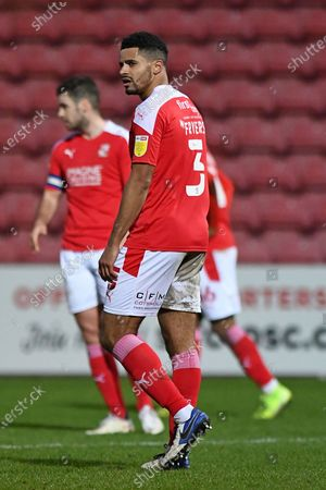 Swindon defender Zeki Fryers (3) looks across at the Referee's Assistant after Charlton had taken a 2 - 1 lead during the EFL Sky Bet League 1 match between Swindon Town and Charlton Athletic at the County Ground, Swindon