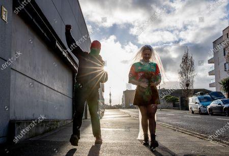 Dublin vs Mayo. Mayo fans Shane Fitzgerald from Kilmaine, Co Mayo with Sophia Van Aalst from Wassenaar, The Netherlands on Jones' Road today