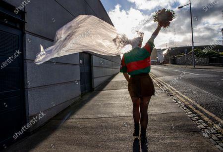 Dublin vs Mayo. Mayo fan Sophia Van Aalst from Wassenaar, The Netherlands on Jones' Road today