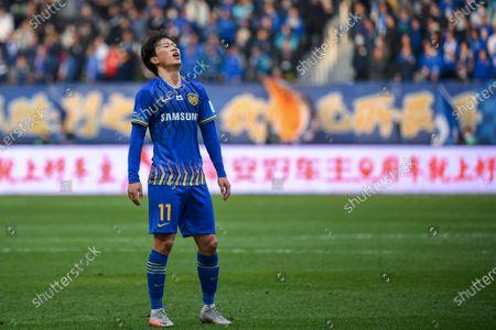 Stock Image of Xie Pengfei of Jiangsu Suning is seen during the final match between Jiangsu Suning and Shandong Luneng at the CFA (The Chinese Football Association) Cup in Suzhou, east China's Jiangsu Province, Dec. 19, 2020.