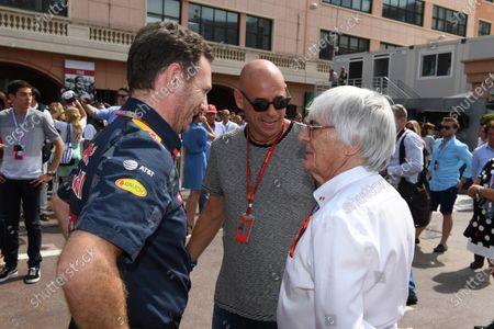 Guy Laliberte (CDN) Cirque de Soleil  with Bernie Ecclestone (GBR) CEO Formula One Group (FOM) and Christian Horner (GBR) Red Bull Racing Team Principal at Formula One World Championship, Rd6, Monaco Grand Prix, Qualifying, Monte-Carlo, Monaco, Saturday 28 May 2016.