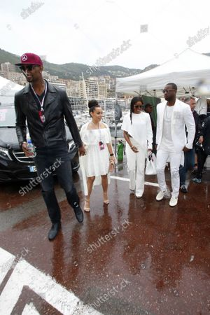 Chris Bosh (USA) Basketball Player with his wife Adrienne Williams Bosh (USA) and Dwyanne Wade (USA) Basketball Player and Gabrielle Union (USA) Model and Actressat Formula One World Championship, Rd6, Monaco Grand Prix, Race, Monte-Carlo, Monaco, Sunday 29 May 2016.