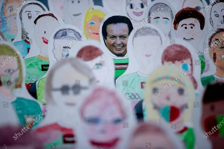 Stock Photo of Dublin vs Mayo. A view of Mayo and Dublin fan drawings in the stands at Croke Park from school children in Mayo and Dublin including RTE's Marty Morrissey