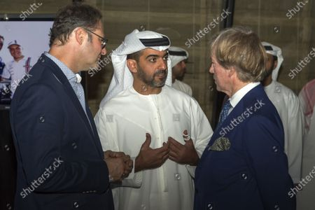 Neuschwansteiner Ambassador H.R.H. Prince Leopold of Bavaria, HRH Hamad bin Zayed Al Nahyan and Christian Seitz (GER) CEO and Founder of Neuschwansteiner at a Celebration of Six Years of the Abu Dhabi GP presented by Neuchwansteiner in aid of World Childhood Foundation at the Jumeirah Etihad Towers Hotel at Formula One World Championship, Rd19, Abu Dhabi Grand Prix, Preparations, Yas Marina Circuit, Abu Dhabi, UAE, Wednesday 25 November 2015.