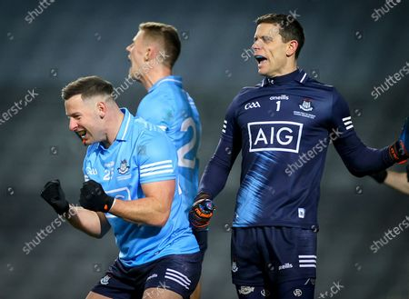 Dublin vs Mayo. Dublin's Philly McMahon and goalkeeper Stephen Cluxton celebrate at the final whistle