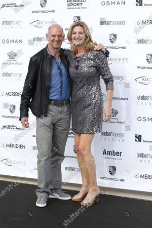 Adrian Newey (GBR) Red Bull Racing and Louise Goodman (GBR) Goodman Media at Amber Lounge Fashion Show, Le Meridien Beach Plaza Hotel, Monaco, Friday 27 May 2016.