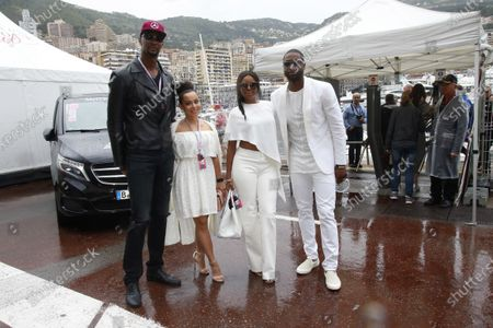 Chris Bosh (USA) Basketball Player with his wife Adrienne Williams Bosh (USA) and Dwyanne Wade (USA) Basketball Player and Gabrielle Union (USA) Model and Actress at Formula One World Championship, Rd6, Monaco Grand Prix, Race, Monte-Carlo, Monaco, Sunday 29 May 2016.