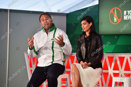 Scott Quinnell (GBR) Former Rugby Player and HeinekenAmbassador, Stephanie Sigman (MEX) Actress and HeinekenAmbassador at Heineken announces global partnership with Formula One Management press call at Formula One World Championship, Rd7, Canadian Grand Prix, Preparations, Montreal, Canada, Thursday 9 June 2016.
