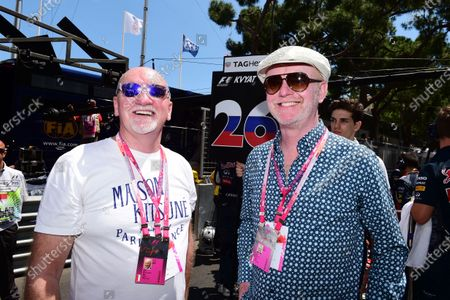 Sir Tom Hunter (GBR) Entrepanueur with Chris Evans (GBR) on the grid at Formula One World Championship, Rd6, Monaco Grand Prix Race, Monte-Carlo, Monaco, Sunday 24 May 2015. BEST IMAGE