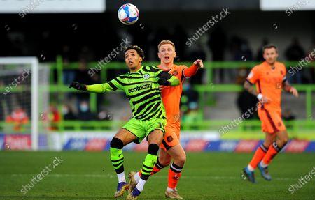 Odin Bailey of Forest Green Rovers jostles with Callum Guy of Carlisle United- Mandatory by-line: Nizaam Jones/JMP