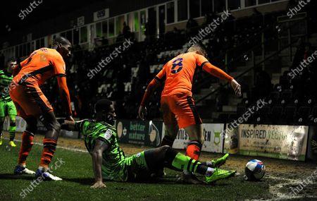 Jamille Matt of Forest Green Rovers is brought to the ground by Callum Guy of Carlisle United- Mandatory by-line: Nizaam Jones/JMP