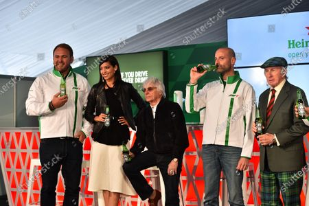 Scott Quinnell (GBR) Former Rugby Player and HeinekenAmbassador, Stephanie Sigman (MEX) Actress and HeinekenAmbassador, Gianluca Di Tondo (ITA) Senior Director Global Heineken Brand and Jackie Stewart (GBR) at Heineken announces global partnership with Formula One Management press call at Formula One World Championship, Rd7, Canadian Grand Prix, Preparations, Montreal, Canada, Thursday 9 June 2016.