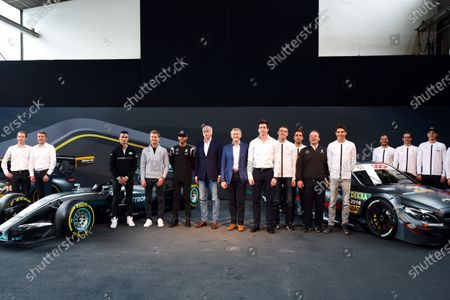 Pascal Wehrlein (GER), Nico Rosberg (GER) Mercedes AMG F1, Lewis Hamilton (GBR) Mercedes AMG F1, Dr. Dieter Zetsche (GER), CEO of Daimler AG, Thomas Weber (GER) Member of the Board of Management of Daimler AG Group Research & Mercedes-Benz Cars Development, Toto Wolff (AUT) Mercedes AMG F1 Director of Motorsport, Paul di Resta (GBR), Daniel Juncadella (ESP), Ulrich Fritz (GER) Mercedes AMG DTM Team Principal, Esteban Ocon (FRA), Gary Paffett (GBR), Maximillian Gotz (GER) and Christian Vietoris (GER) at Mercedes Motorsport Kickoff 2016, Stuttgart, Germany, 11 March 2016.
