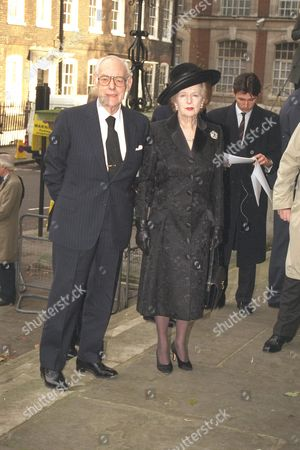 Sir James Goldsmith Memorial Service St John's Church Westminster London. Showing Sir Denis And Lady Thatcher - 1997