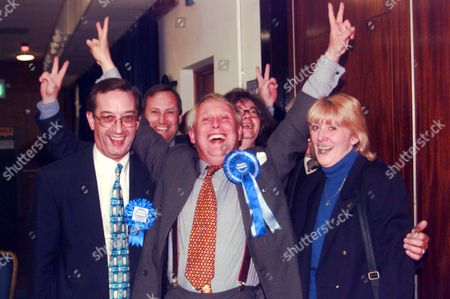 Conservative Bob Neill (centre) Celebrates His Success As Conservative Candidate In The Greater London Authority Constituency Of Bromley Robert Neill