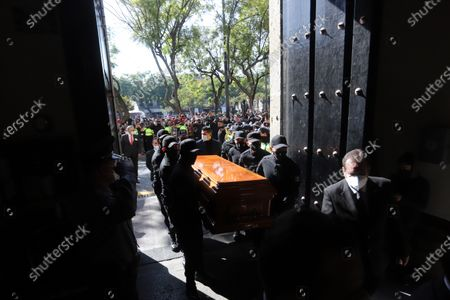 Stock Image of The remains of the former Governor of Jalisco Aristoteles Sandoval arrive at the Congress of said state for a posthumous tribute, in Guadalajara, Mexico, 19 December 2020. Public officials, politicians and family members joined in a tribute to the former Governor of Jalisco, Aristoteles Sandoval, who was murdered the day before by hitmen in a restaurant in the tourist resort of Puerto Vallarta.