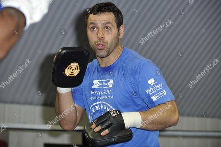 Adam Booth, David Haye's trainer and manager, holding the focus mitts for David Haye in training before his Heavyweight World Championship fight
