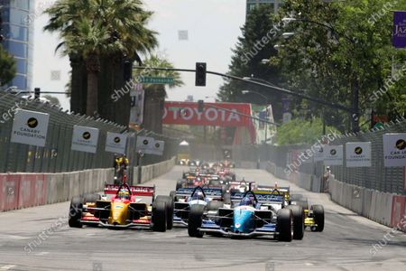L-R: Race winner Sebastien Bourdais (FRA), Newman Haas Racing Lola Ford Cosworth, and Paul Tracy (CDN), Forsythe Championship Racing Lola Ford Cosworth, at the start of the race. Champ Car World Series, Rd9, San Jose, USA, 29-30 July 2006. DIGITAL IMAGE