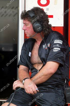 Steve Morrow (GBR) Fuel man in controversial new McLaren mechanics overalls. Spanish Grand Prix, Barcelona, 27 April 2002. DIGITAL IMAGE