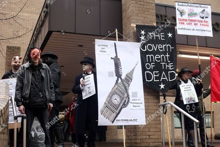 Protesters outside Southwark Crown Court
