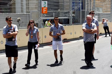 Pascal Wehrlein (GER) Manor Racing walks the track with dave Ryan (GBR) Manor Racing Racing Director at Formula One World Championship, Rd8, European Grand Prix, Preparations, Baku City Circuit, Baku, Azerbaijan, Thursday 16 June 2016.