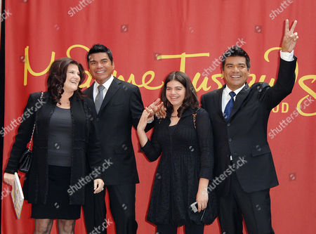 George Lopez, wife Ann Serrano, daughter Mayan and George Lopez wax figure
